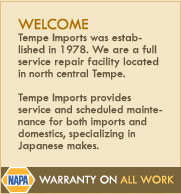 tempe imports provides auto repair, service and maintenance of imports and domestic vehicles specializing in Japanese imports including honda, toyota, nissan